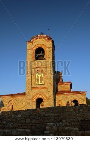 Macedonia Ohrid/Ochrid Saint Clement and Pantelimon orthodox church setting sun