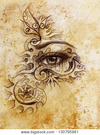 woman eye with ornament, pencil drawing, eye contact. Sepia effect and Computer collage