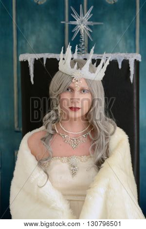 portrait of snow queen sitting on her throne