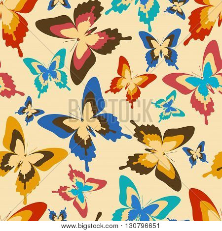 Stylish background seamless pattern with flying colorful butterflies in vintage or retro style. Bright trendy multicolored wallpaper. Vector illustration