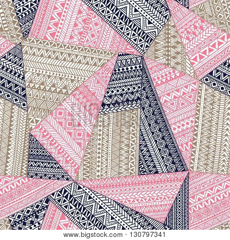 Geometric ornament patchwork. Ethnic and tribal motifs. Vector illustration drawn by hand. Blue gray and pink colors. Bohemian style. Seamless pattern.