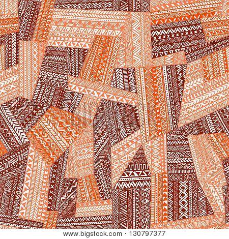 Seamless pattern of patchwork. Orange geometric elements. Tribal and ethnic motifs. Handmade. Vector illustration