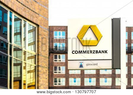 ROSTOCK, GERMANY - MAY 12, 2016: Commerzbank AG, German global banking and financial services company.