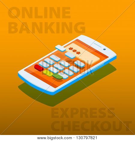 Payment Terminal In The Phone. Concept Online Shopping And Online Payment With Your Smartphone
