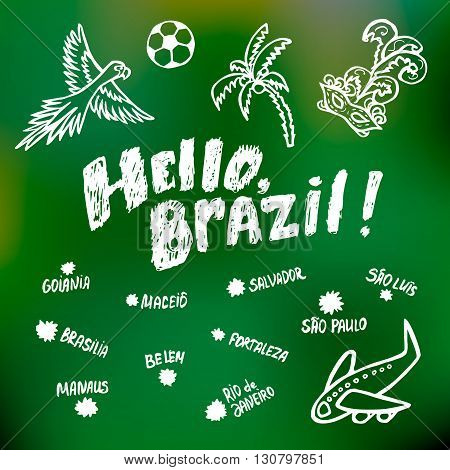 Concept of the greetings card with some Brazilian symbols and cities.