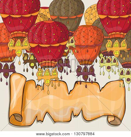 Hot air balloons postcard - vector for design