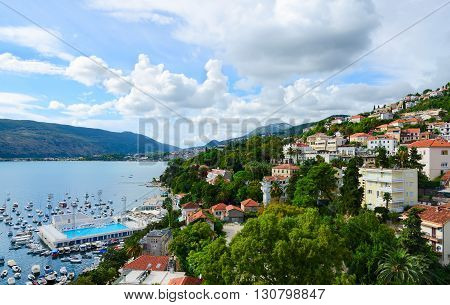 HERCEG NOVI MONTENEGRO - SEPTEMBER 25 2015: View of Herceg Novi and the Bay from the fortress wall Forte Mare Montenegro