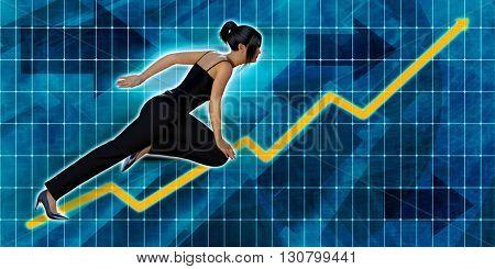 Asian Businesswoman Running with Chart Graph Background Art 3d Illustration Render