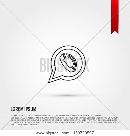 Phone icon in speech bubble. Phone symbol. Calling Icon. Flat design style. Template for design.
