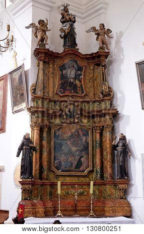KOTARI, CROATIA - SEPTEMBER 16: Altar of Saint Anthony in the church of Saint Leonard of Noblac in Kotari, Croatia on September 16, 2015.
