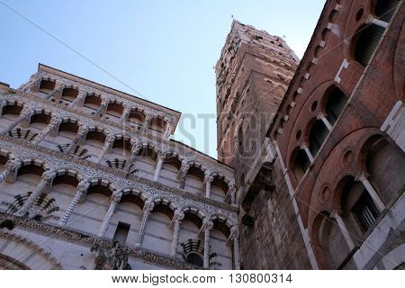 LUCCA, ITALY - JUNE 06, 2015: The Cathedral of St Martin is the seat of the Archbishop of Lucca and the main city landmark in Lucca, Italy, on June 06, 2015