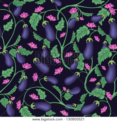 Seamless pattern with eggplant. Eggplant blossom and its foliage