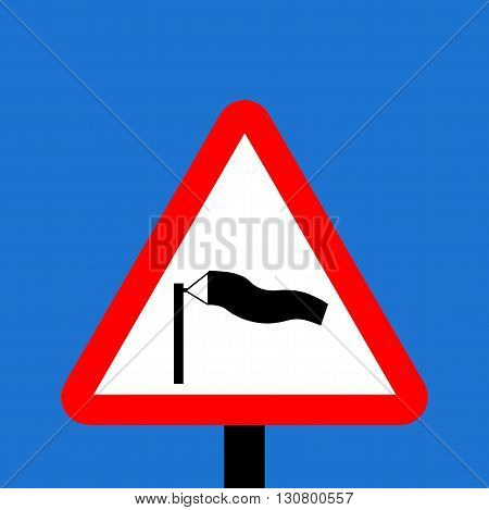 A Warning triangle Side winds traffic sign