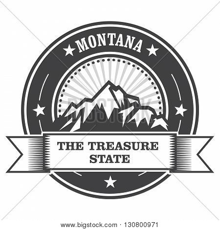 Montana Mountains - Treasure State stamp label