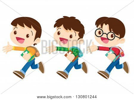 student boy walking characterThree School boy cartoon walkingCute boy on his way to schoolCute boy go to school.