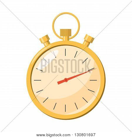Stopwatch icon in cartoon style on a white background