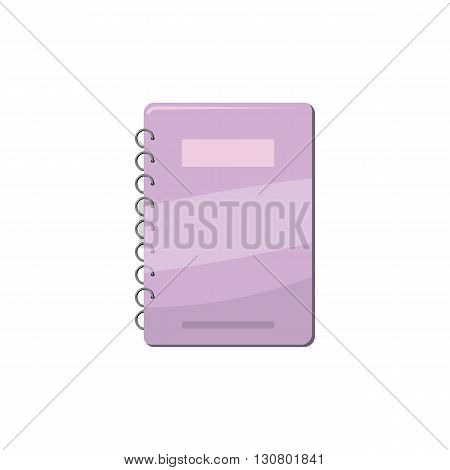 Spiral notebook with lilac cover icon in cartoon style on a white background