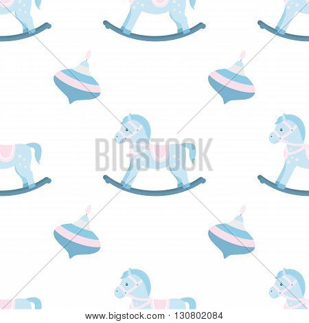 Seamless pattern of rocking horse and whirligig. esign element for baby shower card scrapbookinvitation children's goods. Isolated on white background. Vector illusrtation