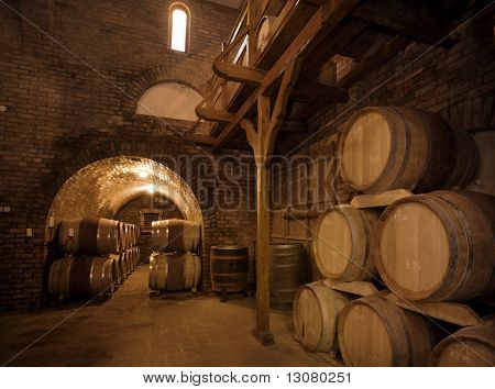 Wine barrels stacked in the old cellar of the vinery.