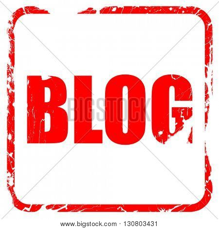 blog, red rubber stamp with grunge edges