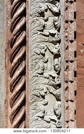 Detail of church of San Polo gothic portal in Venice