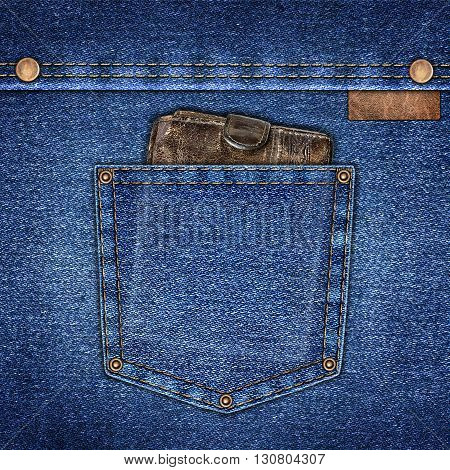background simple denim with pocket and wallet