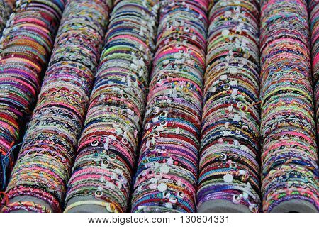 A Display of Pretty Coloured Jewellery Bracelets.