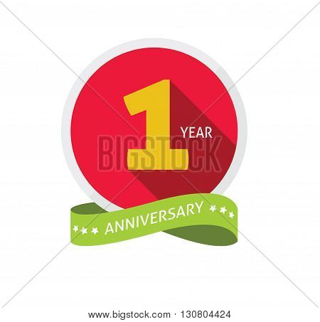Anniversary 1st logo template with shadow on circle number one. 1 year icon. One year birthday party symbol. First company holiday, sticker, badge, ribbon, banner, poster, logotype, emblem, tag