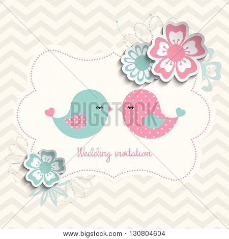 wedding invitation with two cute birds and flowers with 3D effect, vector illustration, eps 10 with transparency