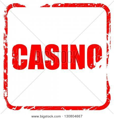 casino, red rubber stamp with grunge edges
