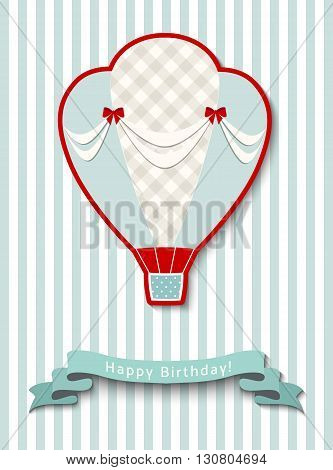 Happy birthday greeting card with vintage hot air balloon, vector illustration, eps 10 with tranparency