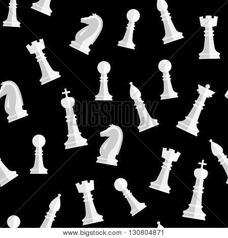 Seamless chess background. Chess elements seamless pattern. Background with complete set of chess pieces: king queen bishop rook knight rook. Vector illustration.