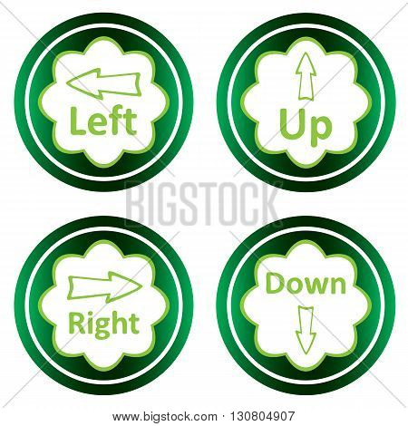 Green icons clipart with arrows up, down, left, right