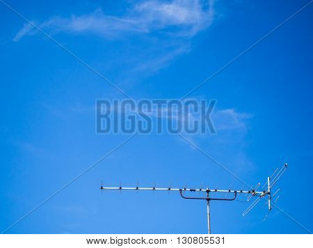 antenna and clear blue sky for background wallpaper
