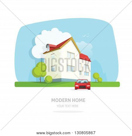 Home facade contemporary modern flat style. House traditional cottage vector illustration. Bright family smart home front view with garden, sport car. Lovely home landscape card or postcard for rent