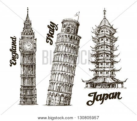 Travel. Hand drawn sketch England, Italy, Japan. Vector illustration