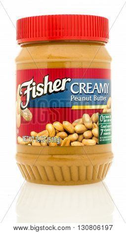 Winneconne WI - 19 May 2016: Container of Fisher creamy peanut butter on an isolated background