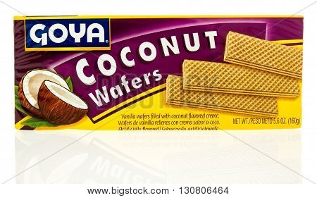 Winneconne WI - 19 May 2016: Package of Goya coconut wafers on an isolated background