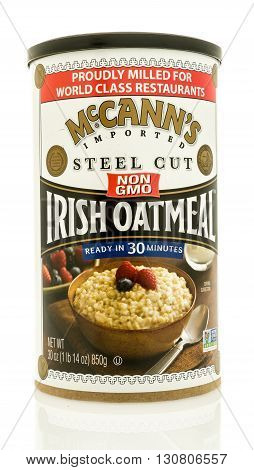 Winneconne WI - 19 May 2016: Can of McCann's steel cut Irish oatmeal on an isolated background