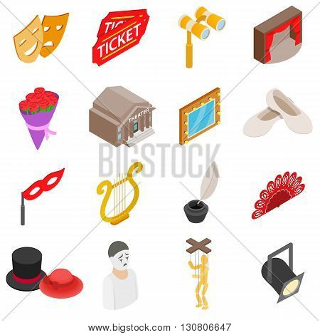 Theatre Icons set in isometric 3d style isolated on white background