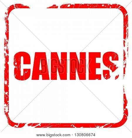 Cannes, red rubber stamp with grunge edges