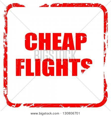 cheap flight, red rubber stamp with grunge edges