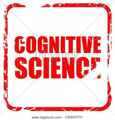 cognitive science, red rubber stamp with grunge edges