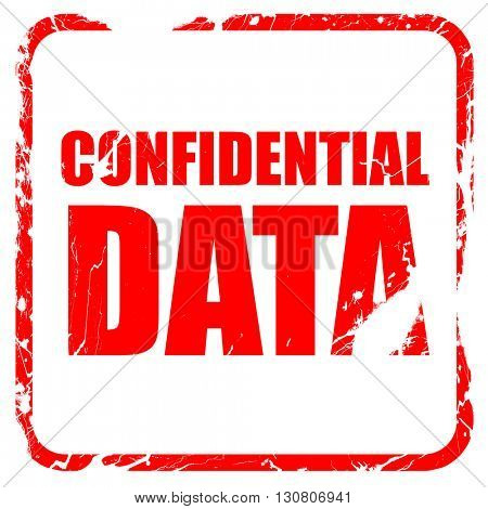confidential data, red rubber stamp with grunge edges