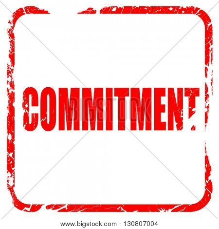commitement, red rubber stamp with grunge edges