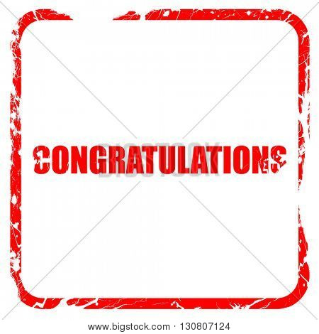 congratulations, red rubber stamp with grunge edges