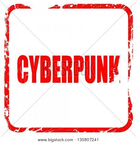 cyberpunk, red rubber stamp with grunge edges