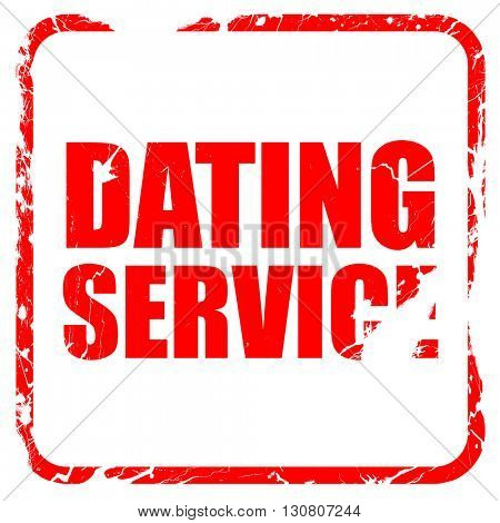 dating service, red rubber stamp with grunge edges