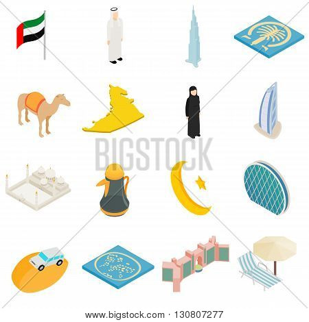 UAE icons set in isometric 3d style isolated on white background