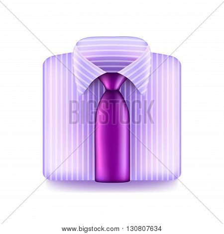 Pink shirt with purple tie isolated on white photo-realistic vector illustration